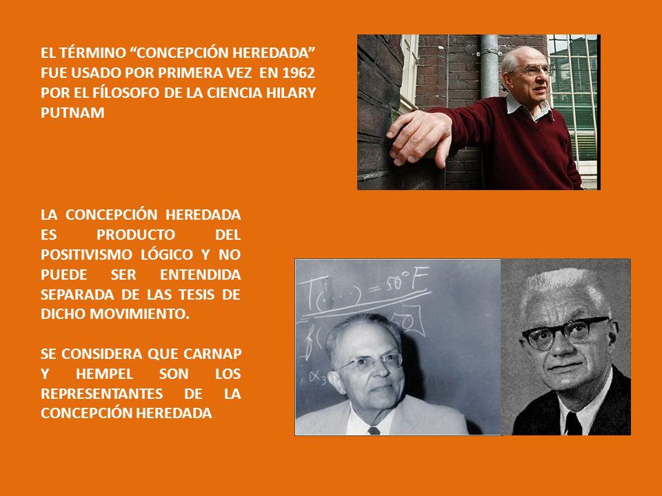 EL TÉRMINO CONCEPCIÓN HEREDADA FUE USADO POR PRIMERA VEZ EN 1962 POR EL FÍLOSOFO DE LA CIENCIA HILARY PUTNAM LA CONCEPCIÓN HEREDADA ES PRODUCTO DEL POSITIVISMO LÓGICO Y NO PUEDE SER ENTENDIDA SEPARADA DE LAS TESIS DE DICHO MOVIMIENTO.