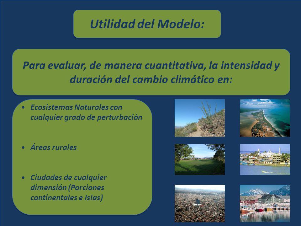 Utilidad del Modelo: Para evaluar, de manera cuantitativa, la intensidad y duración del cambio climático en: Para evaluar, de manera cuantitativa, la