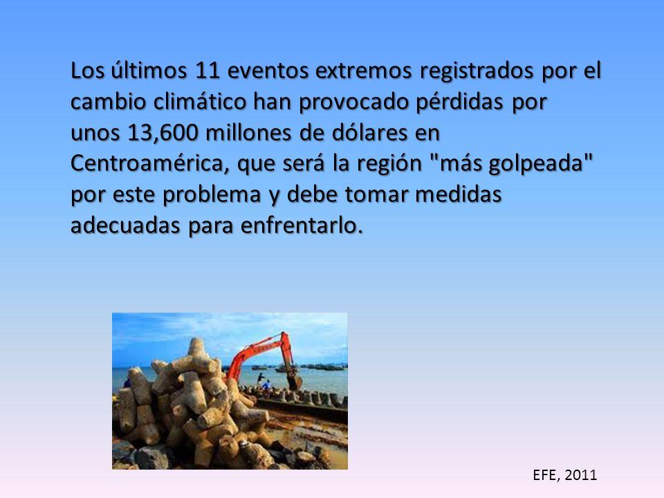 Los últimos 11 eventos extremos registrados por el cambio climático han provocado pérdidas por unos 13,600 millones de dólares en Centroamérica, que será la región más golpeada por este problema y debe tomar medidas adecuadas para enfrentarlo.