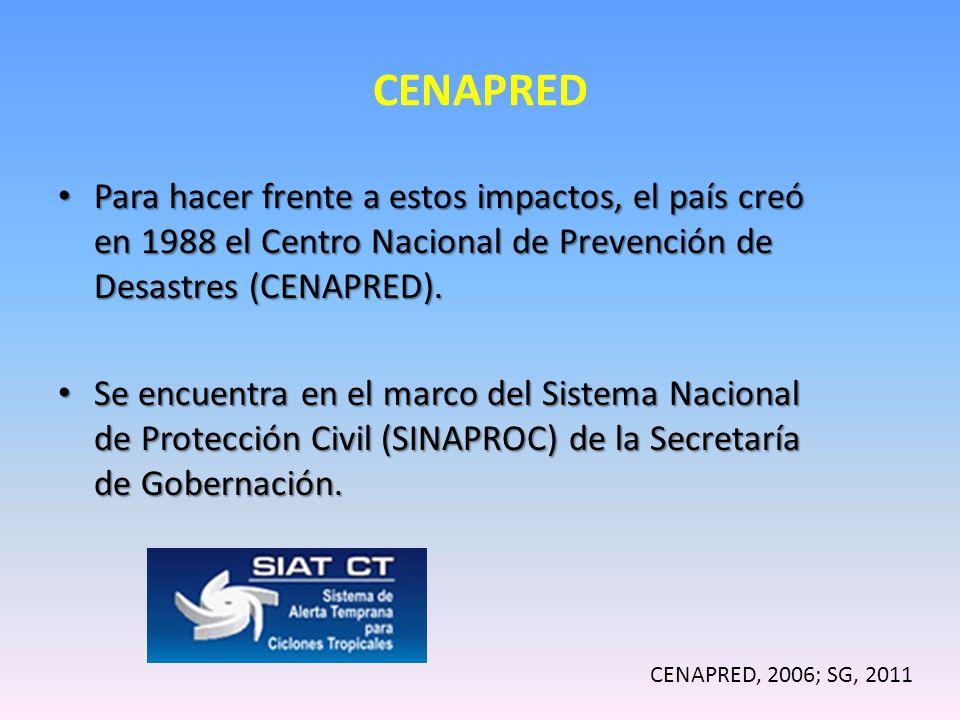 CENAPRED Para hacer frente a estos impactos, el país creó en 1988 el Centro Nacional de Prevención de Desastres (CENAPRED).