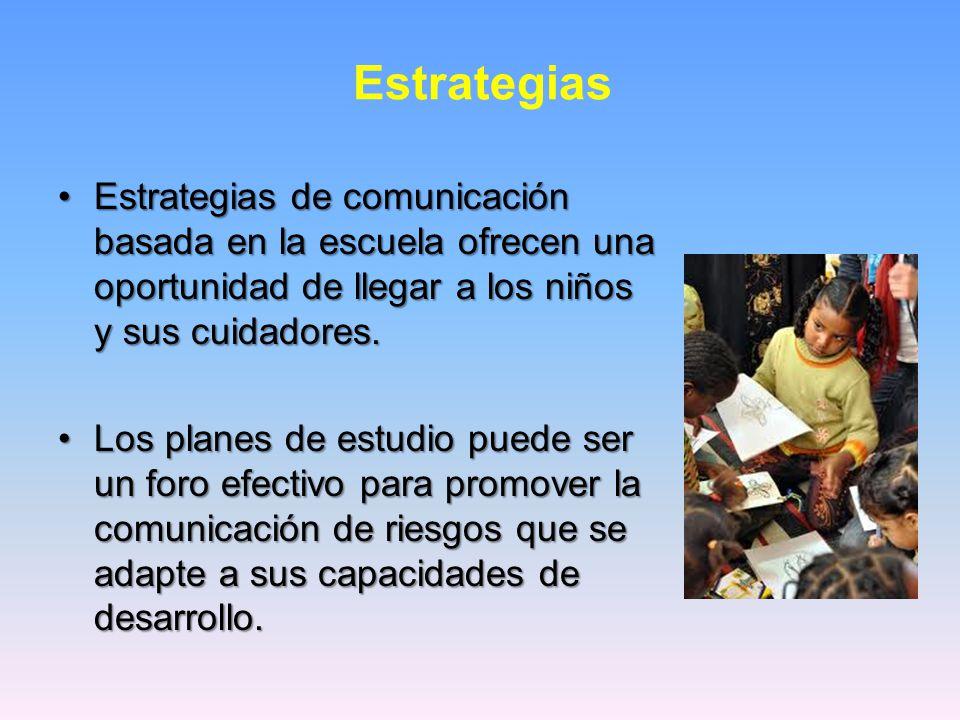 Estrategias Estrategias de comunicación basada en la escuela ofrecen una oportunidad de llegar a los niños y sus cuidadores.Estrategias de comunicación basada en la escuela ofrecen una oportunidad de llegar a los niños y sus cuidadores.