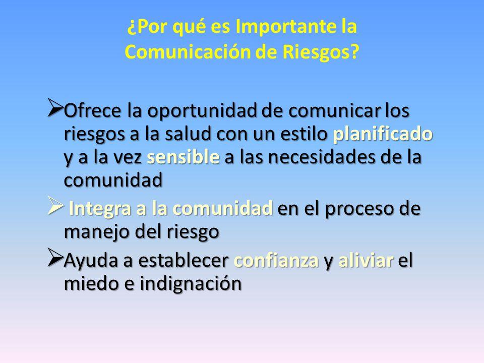 ¿Por qué es Importante la Comunicación de Riesgos.