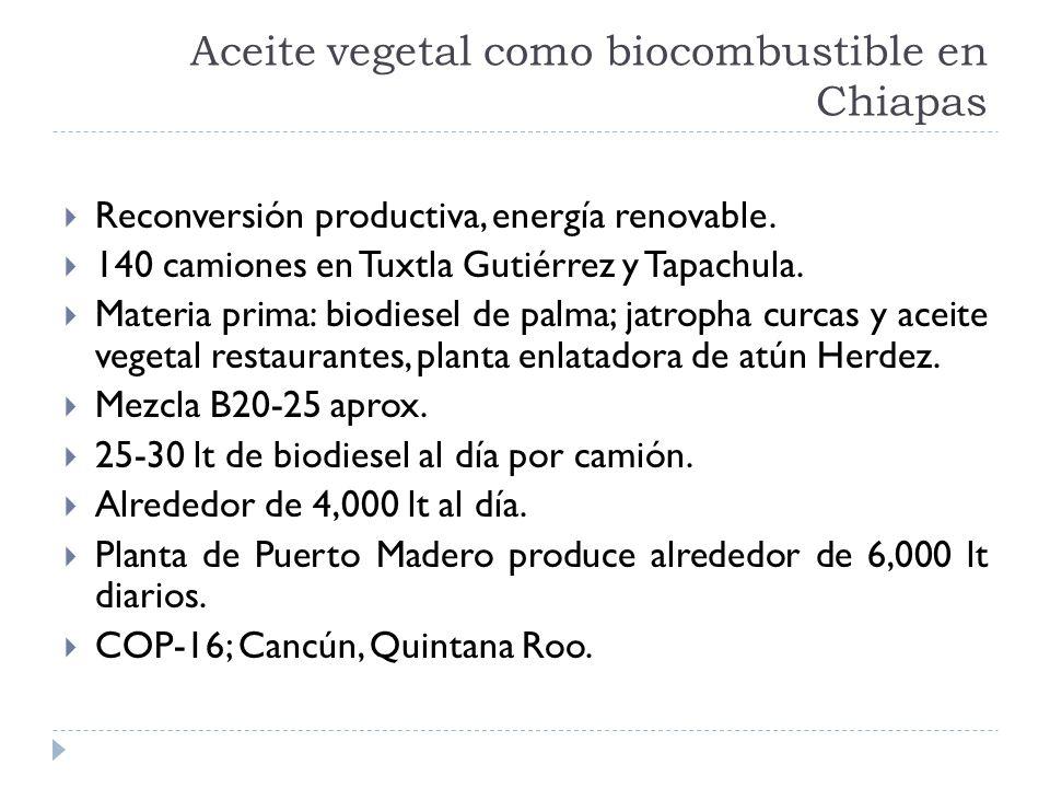 Aceite vegetal como biocombustible en Chiapas Reconversión productiva, energía renovable. 140 camiones en Tuxtla Gutiérrez y Tapachula. Materia prima: