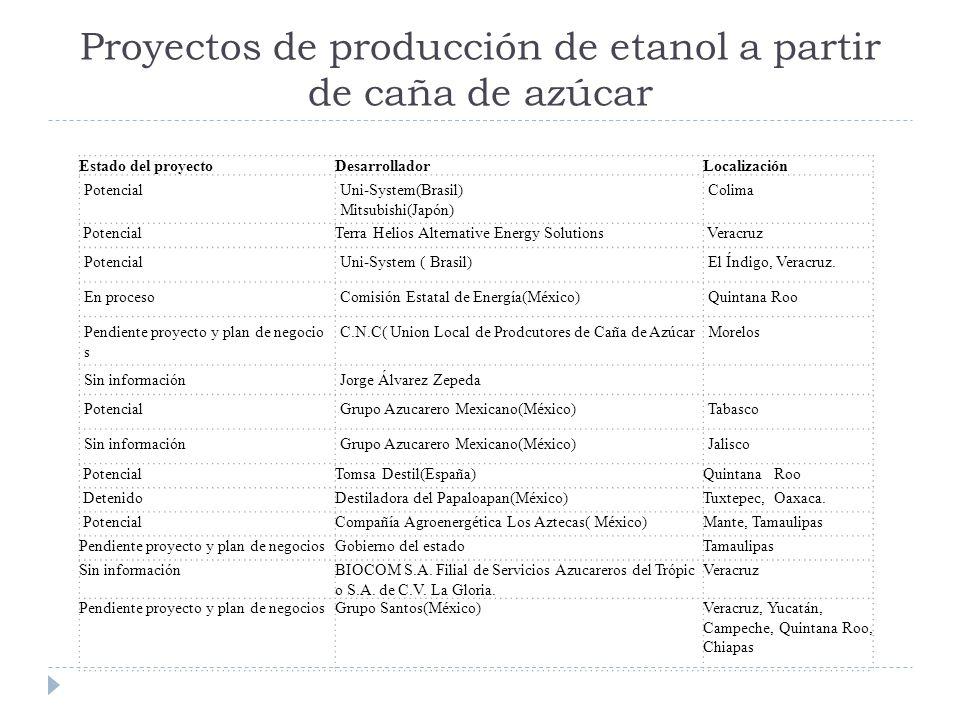 Proyectos de producción de etanol a partir de caña de azúcar Estado del proyectoDesarrolladorLocalización PotencialUni-System(Brasil) Mitsubishi(Japón