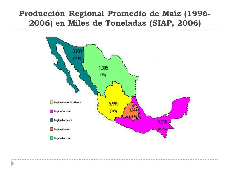 Producción Regional Promedio de Maíz (1996- 2006) en Miles de Toneladas (SIAP, 2006)