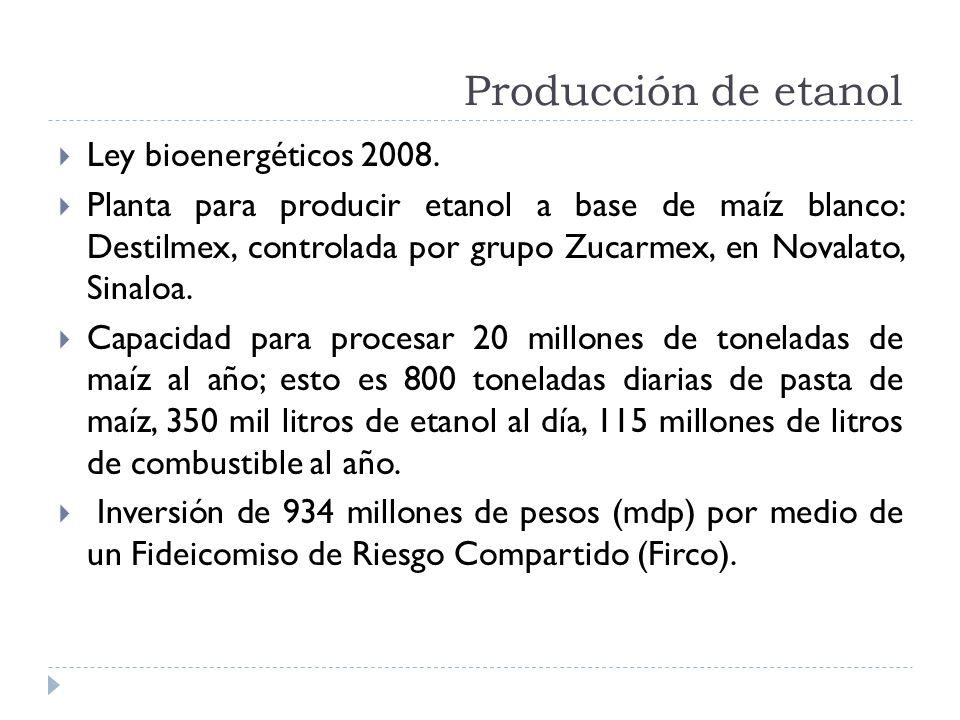 Producción de etanol Ley bioenergéticos 2008. Planta para producir etanol a base de maíz blanco: Destilmex, controlada por grupo Zucarmex, en Novalato