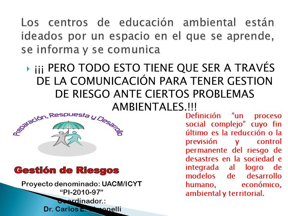 ¡¡¡ PERO TODO ESTO TIENE QUE SER A TRAVÉS DE LA COMUNICACIÓN PARA TENER GESTION DE RIESGO ANTE CIERTOS PROBLEMAS AMBIENTALES.!!! Definición un proceso