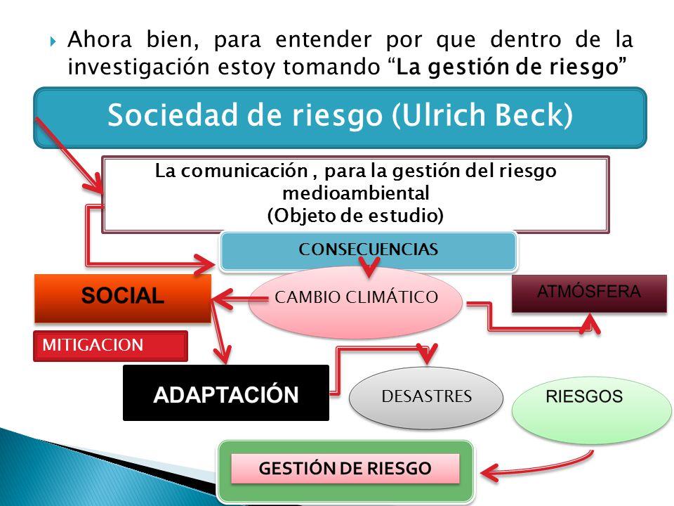 Ahora bien, para entender por que dentro de la investigación estoy tomando La gestión de riesgo Sociedad de riesgo (Ulrich Beck) La comunicación, para