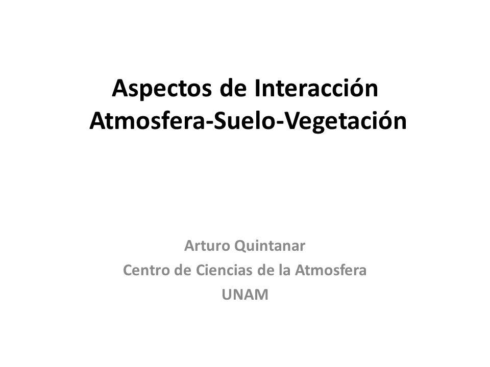 Aspectos de Interacción Atmosfera-Suelo-Vegetación Arturo Quintanar Centro de Ciencias de la Atmosfera UNAM