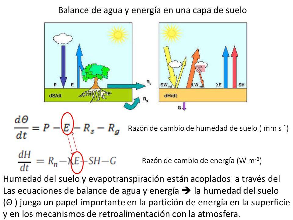 Razón de cambio de humedad de suelo ( mm s -1 ) Balance de agua y energía en una capa de suelo Razón de cambio de energía (W m -2 ) Humedad del suelo