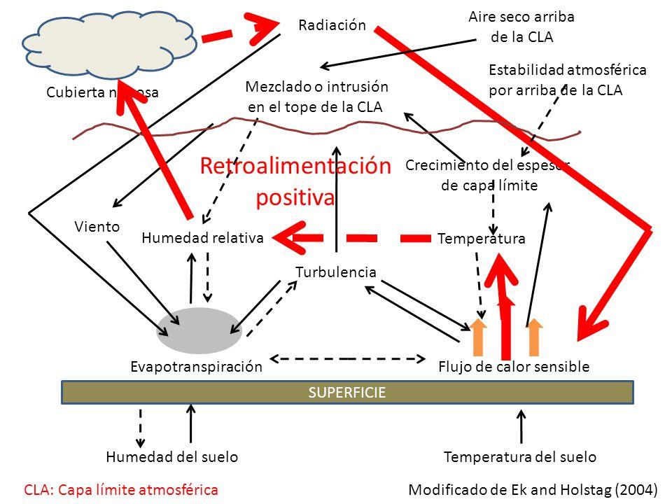 SUPERFICIE EvapotranspiraciónFlujo de calor sensible Turbulencia Mezclado o intrusión en el tope de la CLA Radiación Humedad del sueloTemperatura del