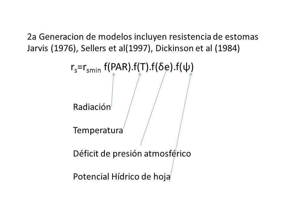 2a Generacion de modelos incluyen resistencia de estomas Jarvis (1976), Sellers et al(1997), Dickinson et al (1984) r s =r smin f(PAR).f(T).f(δe).f(ψ)