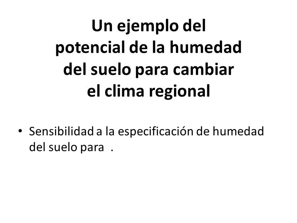 Un ejemplo del potencial de la humedad del suelo para cambiar el clima regional Sensibilidad a la especificación de humedad del suelo para.