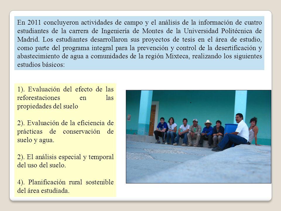 En 2011 concluyeron actividades de campo y el análisis de la información de cuatro estudiantes de la carrera de Ingeniería de Montes de la Universidad