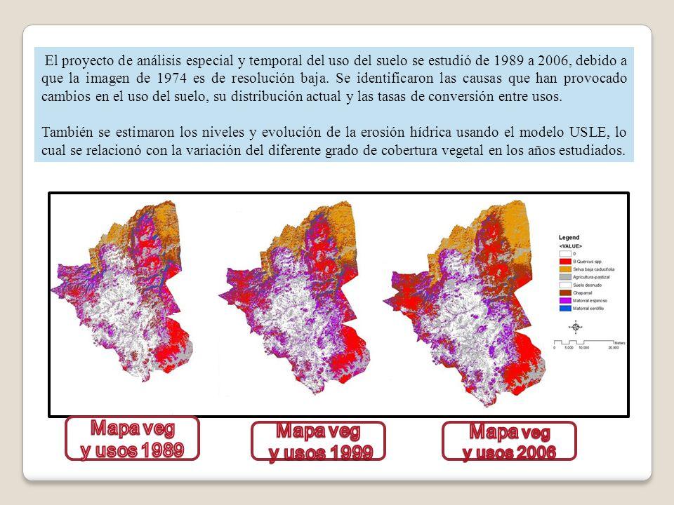El proyecto de análisis especial y temporal del uso del suelo se estudió de 1989 a 2006, debido a que la imagen de 1974 es de resolución baja. Se iden