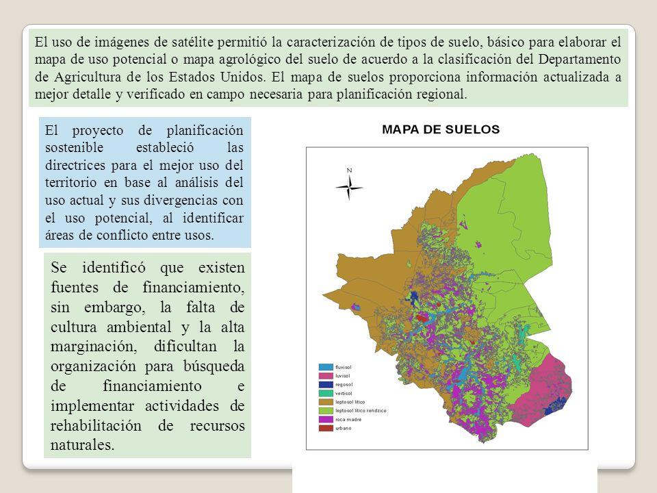 El uso de imágenes de satélite permitió la caracterización de tipos de suelo, básico para elaborar el mapa de uso potencial o mapa agrológico del suel