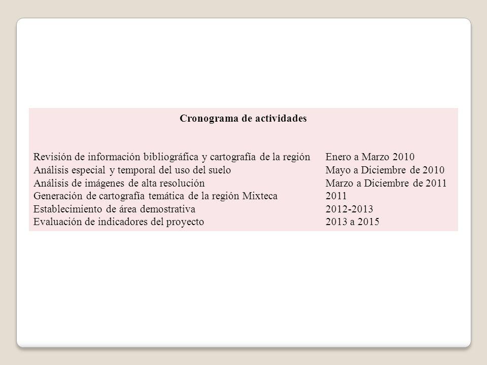 Cronograma de actividades Revisión de información bibliográfica y cartografía de la regiónEnero a Marzo 2010 Análisis especial y temporal del uso del