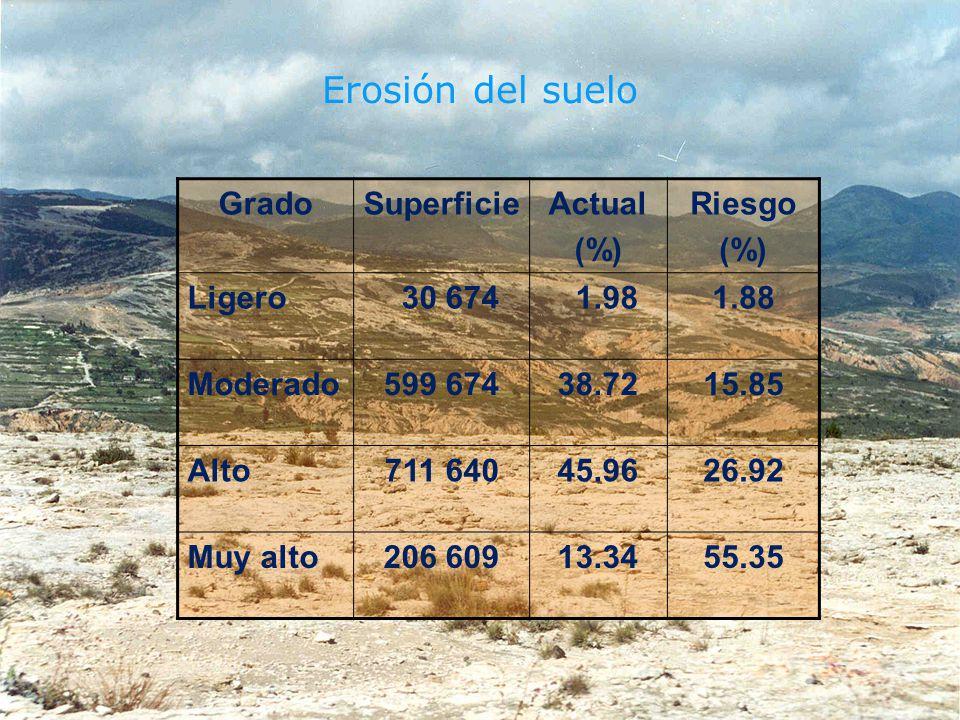 Erosión del suelo GradoSuperficieActual (%) Riesgo (%) Ligero 30 674 1.981.88 Moderado599 67438.7215.85 Alto711 64045.9626.92 Muy alto206 60913.3455.3