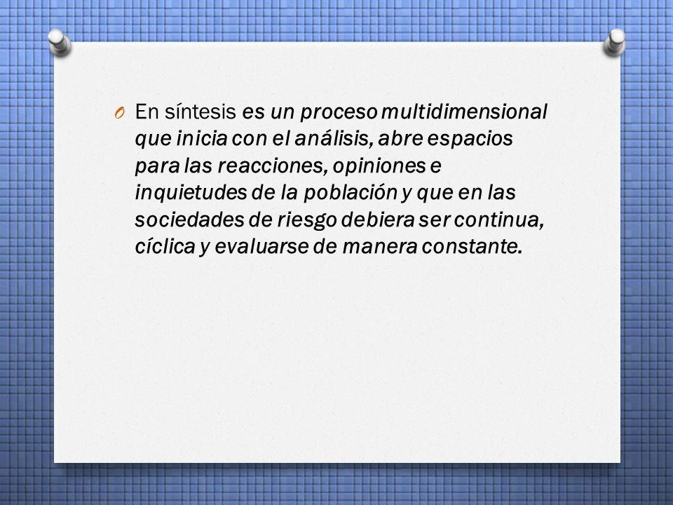 O En síntesis es un proceso multidimensional que inicia con el análisis, abre espacios para las reacciones, opiniones e inquietudes de la población y que en las sociedades de riesgo debiera ser continua, cíclica y evaluarse de manera constante.