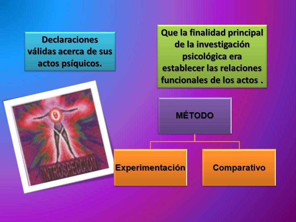 Declaraciones válidas acerca de sus actos psíquicos. Que la finalidad principal de la investigación psicológica era establecer las relaciones funciona