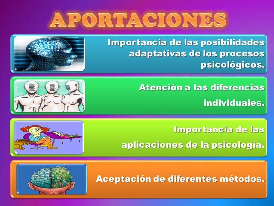 Importancia de las posibilidades adaptativas de los procesos psicológicos. Atención a las diferencias individuales. Importancia de las aplicaciones de