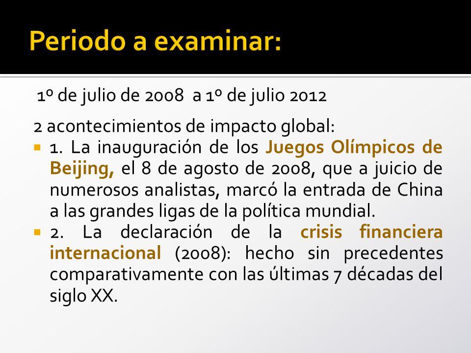 1º de julio de 2008 a 1º de julio 2012 2 acontecimientos de impacto global: 1.