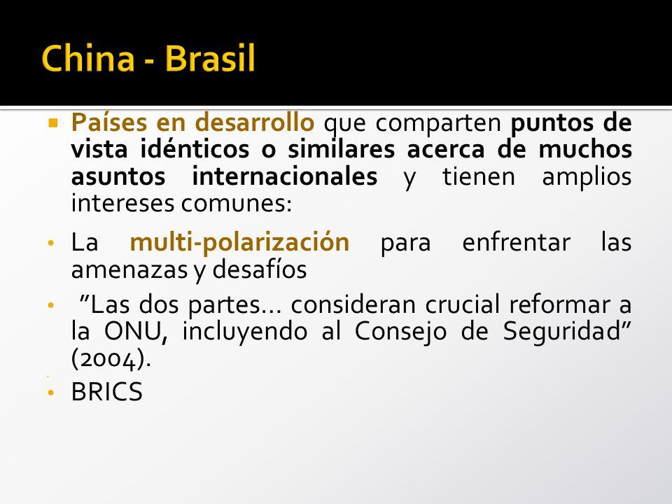 Países en desarrollo que comparten puntos de vista idénticos o similares acerca de muchos asuntos internacionales y tienen amplios intereses comunes: La multi-polarización para enfrentar las amenazas y desafíos Las dos partes… consideran crucial reformar a la ONU, incluyendo al Consejo de Seguridad (2004).
