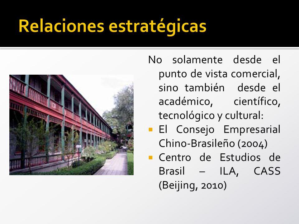 No solamente desde el punto de vista comercial, sino también desde el académico, científico, tecnológico y cultural: El Consejo Empresarial Chino-Brasileño (2004) Centro de Estudios de Brasil – ILA, CASS (Beijing, 2010)