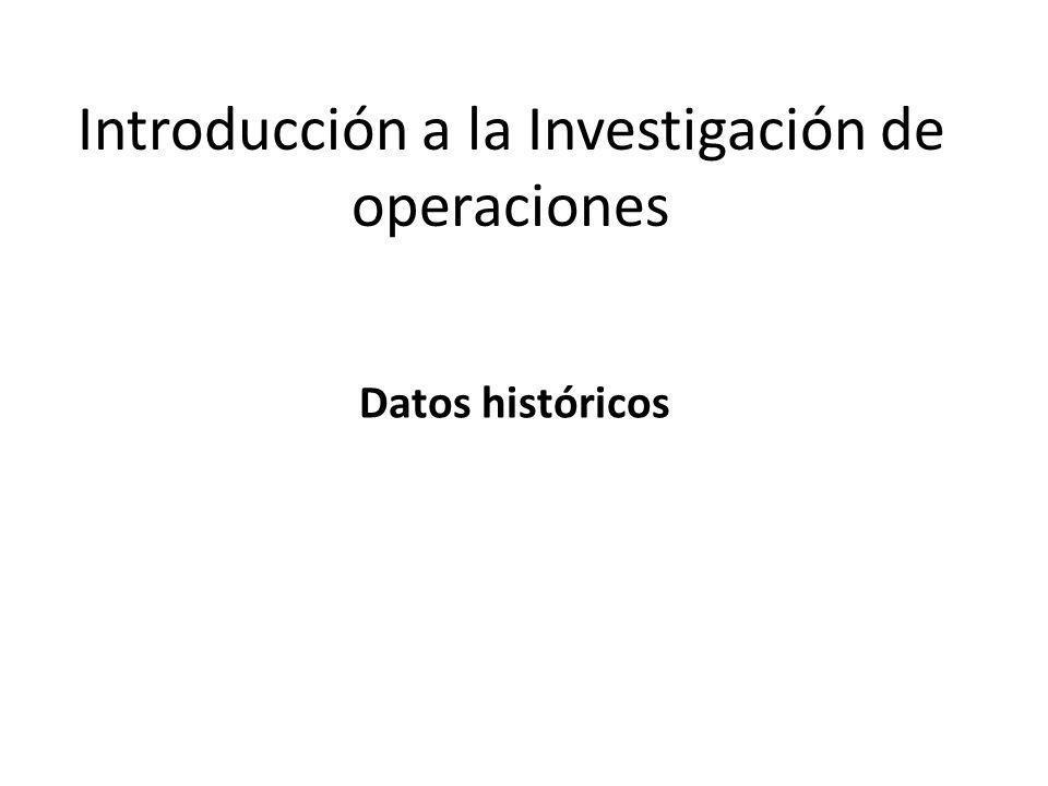 Introducción a la Investigación de operaciones Datos históricos