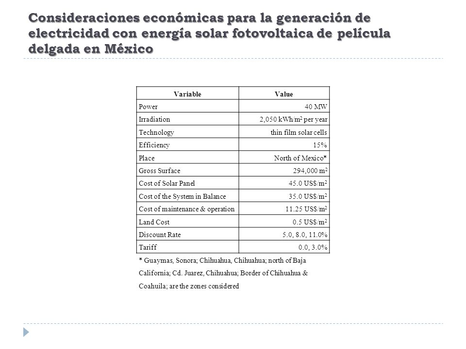 Consideraciones económicas para la generación de electricidad con energía solar fotovoltaica de película delgada en México VariableValue Power40 MW Irradiation2,050 kWh/m 2 per year Technologythin film solar cells Efficiency15% PlaceNorth of Mexico* Gross Surface294,000 m 2 Cost of Solar Panel45.0 US$/m 2 Cost of the System in Balance35.0 US$/m 2 Cost of maintenance & operation11.25 US$/m 2 Land Cost0.5 US$/m 2 Discount Rate5.0, 8.0, 11.0% Tariff0.0, 3.0% * Guaymas, Sonora; Chihuahua, Chihuahua; north of Baja California; Cd.
