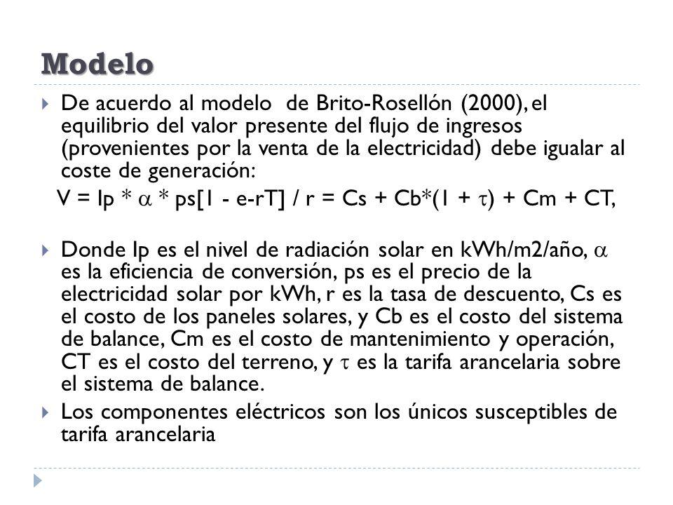 Modelo De acuerdo al modelo de Brito-Rosellón (2000), el equilibrio del valor presente del flujo de ingresos (provenientes por la venta de la electric