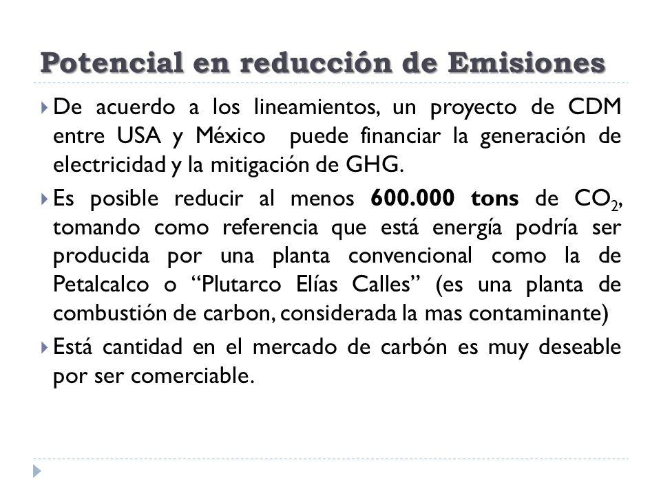 Potencial en reducción de Emisiones De acuerdo a los lineamientos, un proyecto de CDM entre USA y México puede financiar la generación de electricidad