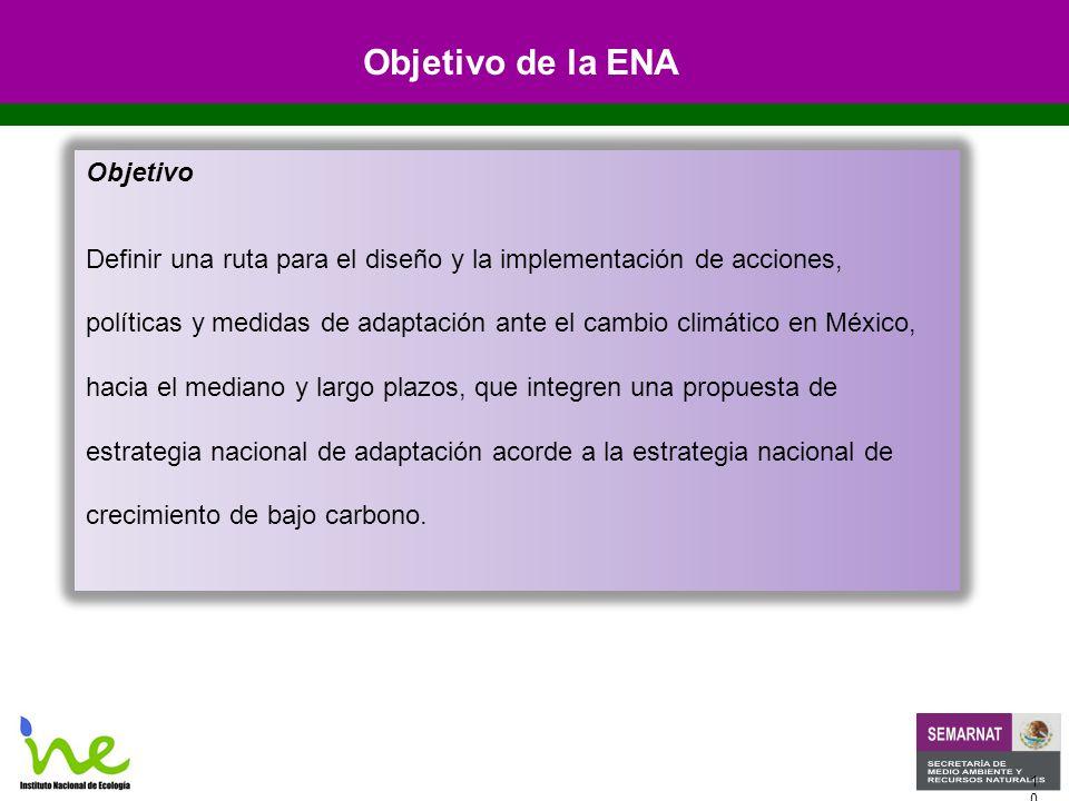 1010 Objetivo Definir una ruta para el diseño y la implementación de acciones, políticas y medidas de adaptación ante el cambio climático en México, hacia el mediano y largo plazos, que integren una propuesta de estrategia nacional de adaptación acorde a la estrategia nacional de crecimiento de bajo carbono.