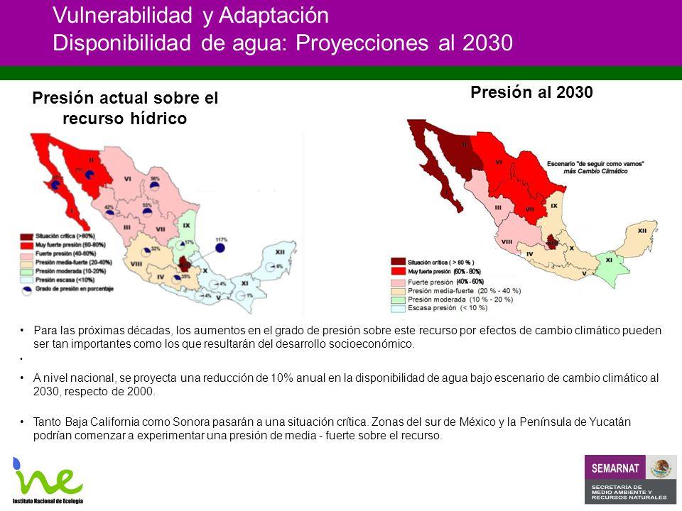 Vulnerabilidad y Adaptación Disponibilidad de agua: Proyecciones al 2030 Para las próximas décadas, los aumentos en el grado de presión sobre este recurso por efectos de cambio climático pueden ser tan importantes como los que resultarán del desarrollo socioeconómico.