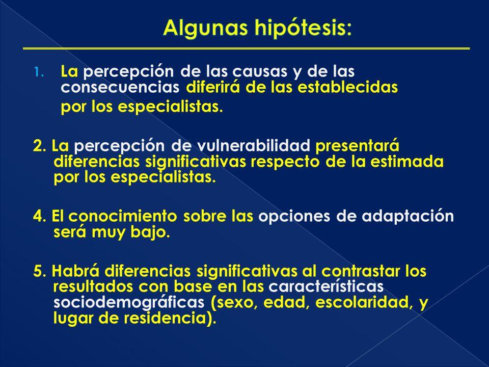 1. La percepción de las causas y de las consecuencias diferirá de las establecidas por los especialistas. 2. La percepción de vulnerabilidad presentar
