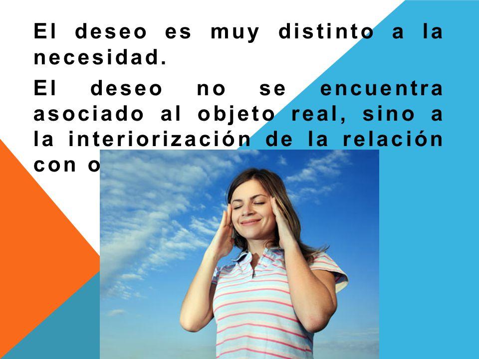 El deseo es muy distinto a la necesidad. El deseo no se encuentra asociado al objeto real, sino a la interiorización de la relación con otro.