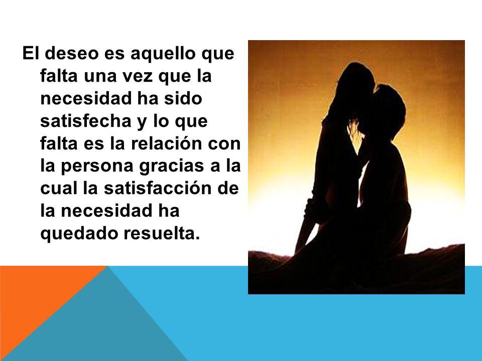 El deseo es aquello que falta una vez que la necesidad ha sido satisfecha y lo que falta es la relación con la persona gracias a la cual la satisfacci