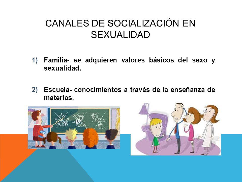 CANALES DE SOCIALIZACIÓN EN SEXUALIDAD 1)Familia- se adquieren valores básicos del sexo y sexualidad. 2)Escuela- conocimientos a través de la enseñanz