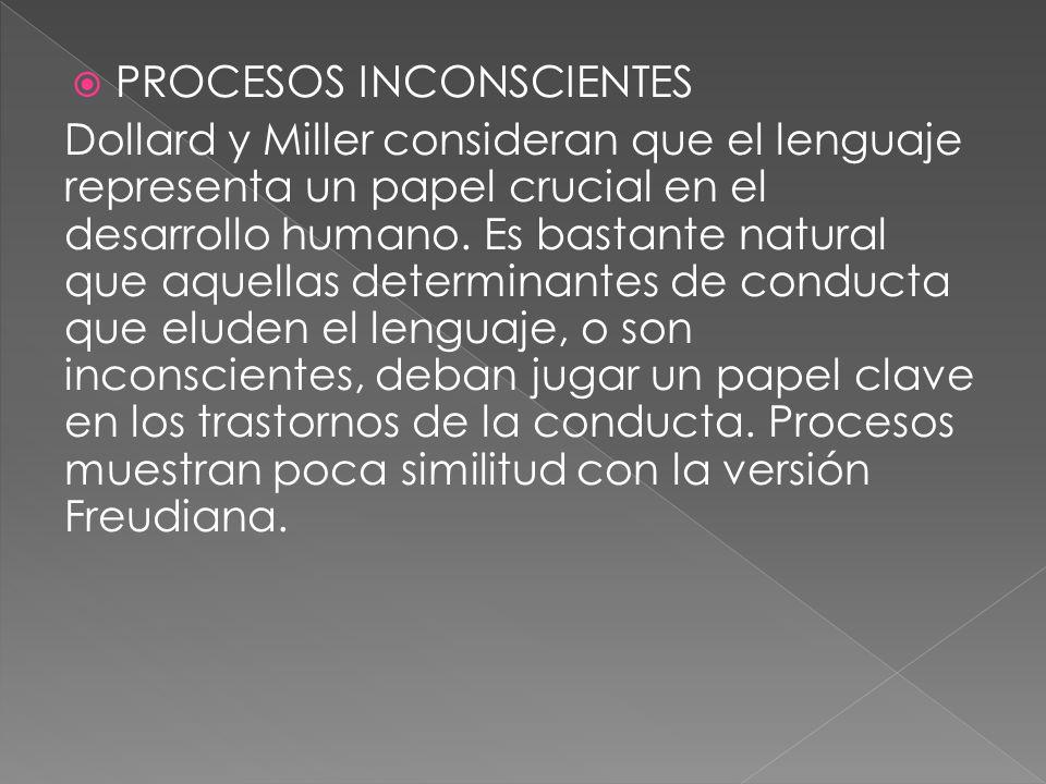 PROCESOS INCONSCIENTES Dollard y Miller consideran que el lenguaje representa un papel crucial en el desarrollo humano. Es bastante natural que aquell