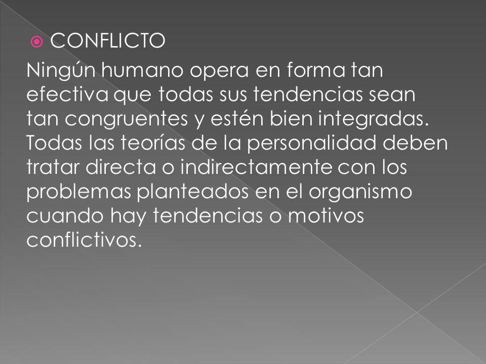 CONFLICTO Ningún humano opera en forma tan efectiva que todas sus tendencias sean tan congruentes y estén bien integradas. Todas las teorías de la per