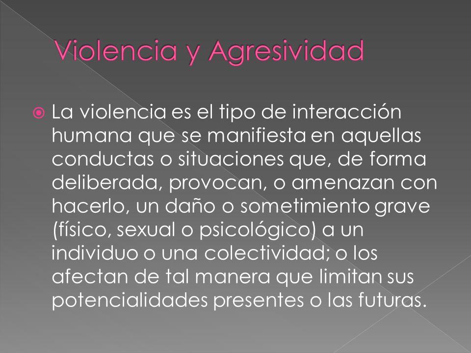 La violencia es el tipo de interacción humana que se manifiesta en aquellas conductas o situaciones que, de forma deliberada, provocan, o amenazan con
