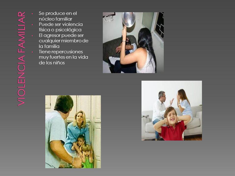 Se produce en el núcleo familiar Puede ser violencia física o psicológica El agresor puede ser cualquier miembro de la familia Tiene repercusiones muy