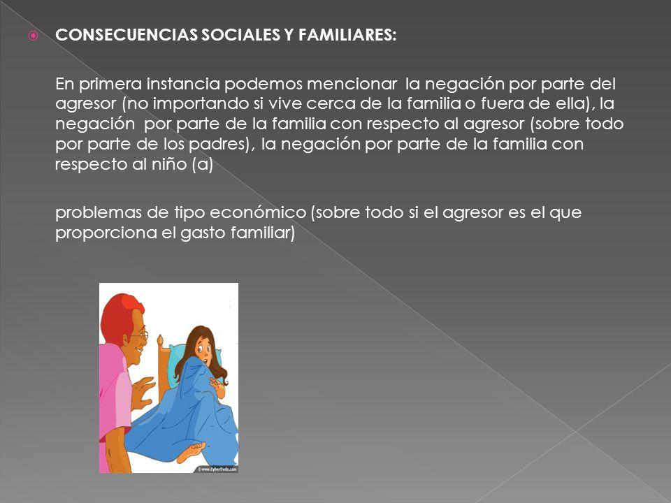 CONSECUENCIAS SOCIALES Y FAMILIARES: En primera instancia podemos mencionar la negación por parte del agresor (no importando si vive cerca de la famil