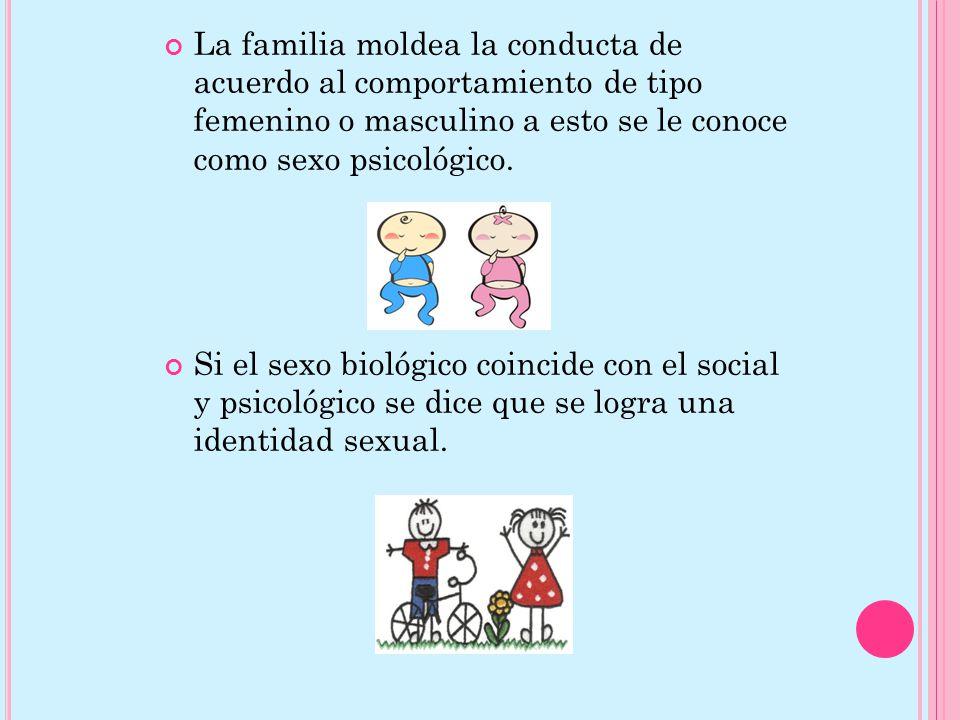 La familia moldea la conducta de acuerdo al comportamiento de tipo femenino o masculino a esto se le conoce como sexo psicológico.