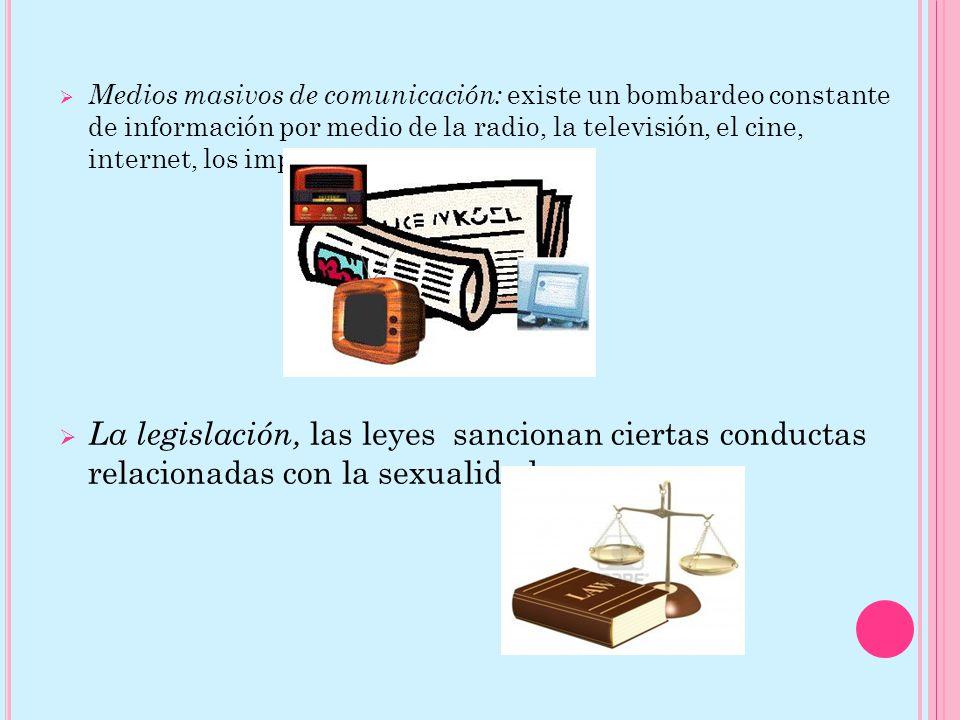 Medios masivos de comunicación: existe un bombardeo constante de información por medio de la radio, la televisión, el cine, internet, los impresos, etc La legislación, las leyes sancionan ciertas conductas relacionadas con la sexualidad.