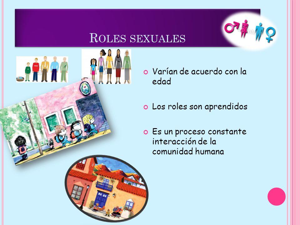 R OLES SEXUALES Varían de acuerdo con la edad Los roles son aprendidos Es un proceso constante interacción de la comunidad humana