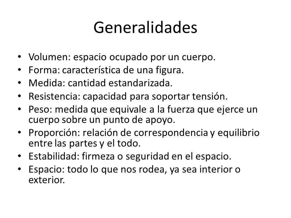 Generalidades Volumen: espacio ocupado por un cuerpo. Forma: característica de una figura. Medida: cantidad estandarizada. Resistencia: capacidad para
