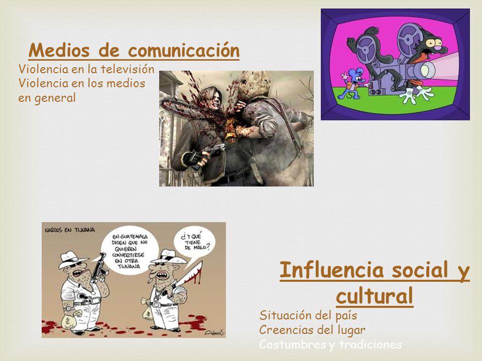 Medios de comunicación Violencia en la televisión Violencia en los medios en general Influencia social y cultural Situación del país Creencias del lug