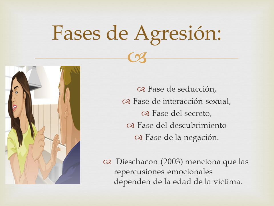 Fase de seducción, Fase de interacción sexual, Fase del secreto, Fase del descubrimiento Fase de la negación. Dieschacon (2003) menciona que las reper