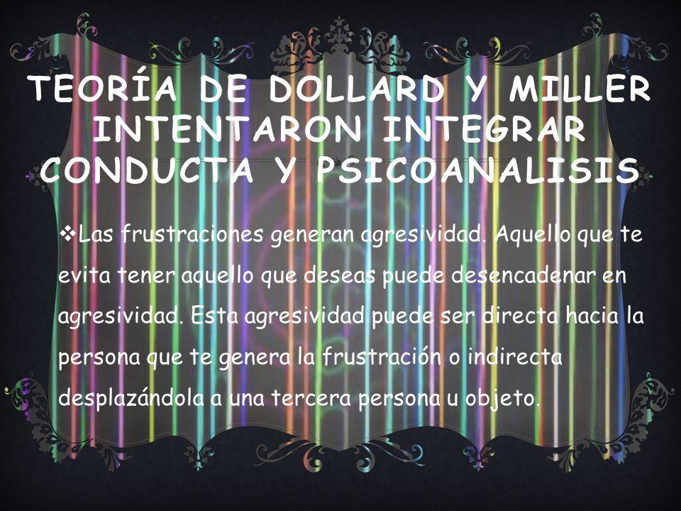 TEORÍA DE DOLLARD Y MILLER INTENTARON INTEGRAR CONDUCTA Y PSICOANALISIS Las frustraciones generan agresividad.